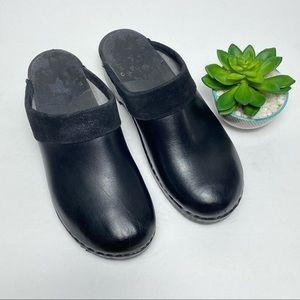 SVEN Swedish Black leather mules Clogs Sz 11